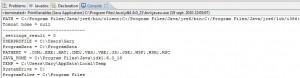 impression des variables d'environnement windows en java