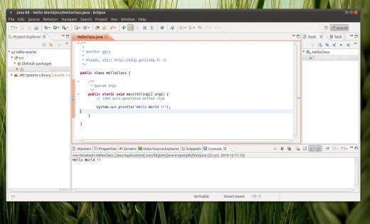 programme Hello World Eclipse ubuntu