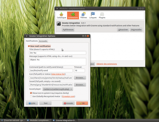 extension gnome integration pour thunderbird