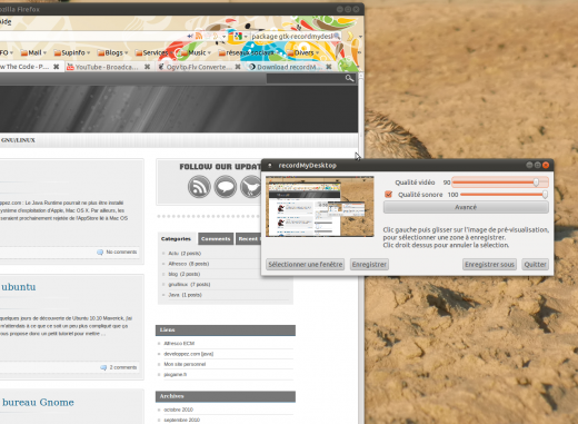 utilisation de recordmydesktop