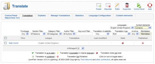 tableau des traductions joomfish