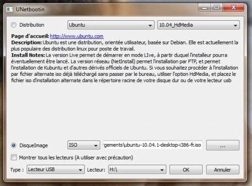 capture d'écran de netbootin