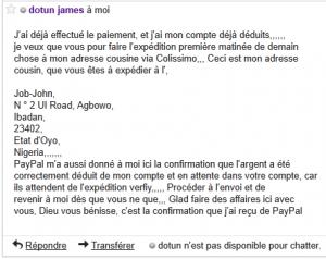 arnaque James Dotun