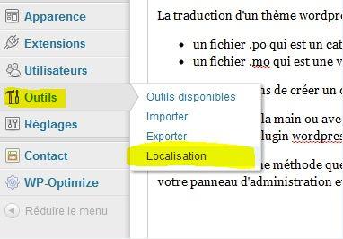 menu Outils/Localisation
