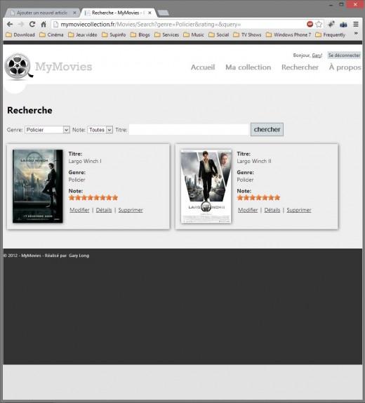 MyMovieCollection - page de recherche