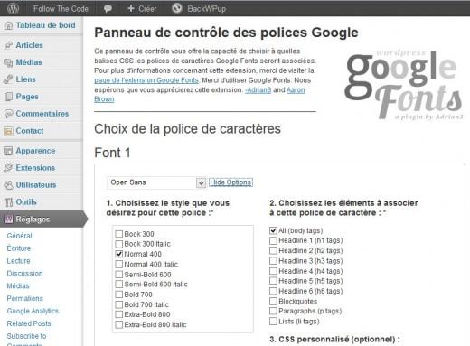 Configuration de WP Google Fonts