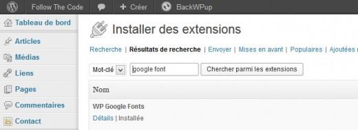 installation de l'extension WP Google Fonts