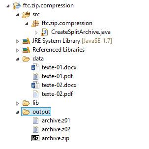 archive découpée en plusieurs fragments avec Zip4j